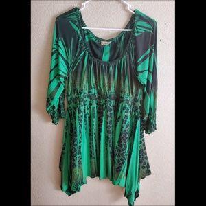 One World Green Subliminal Boho High Low Dress